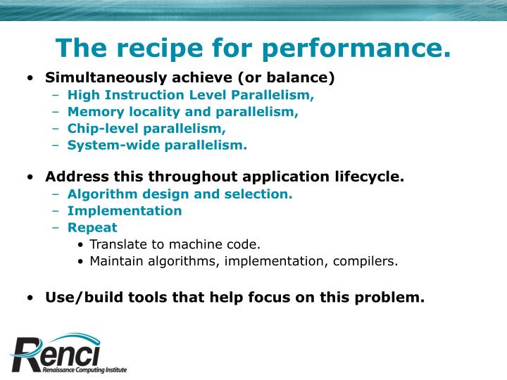 The recipe for performance.