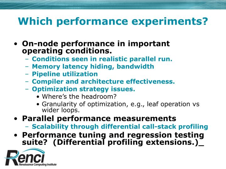 Which performance experiments?