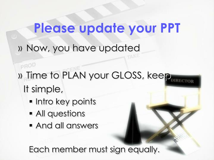 Please update your PPT
