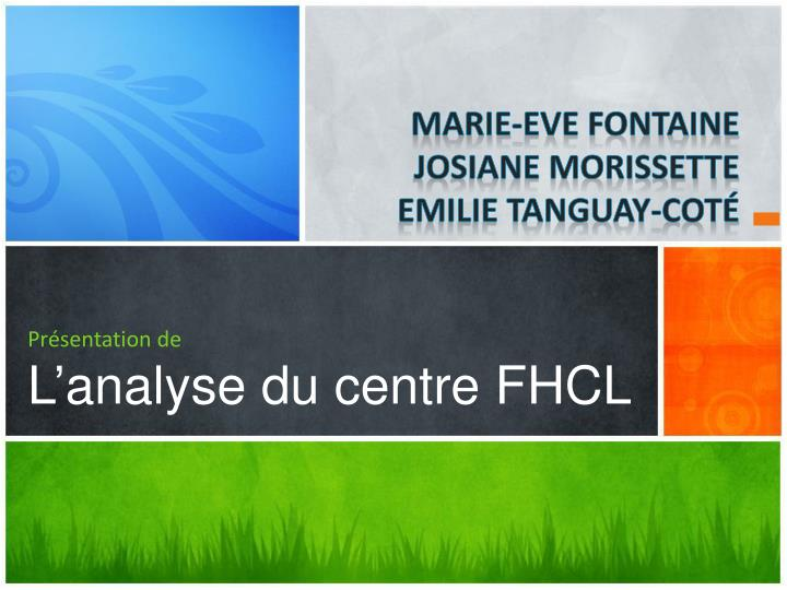 Pr sentation de l analyse du centre fhcl