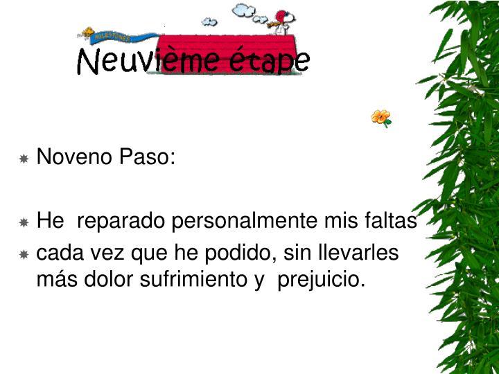 Noveno Paso: