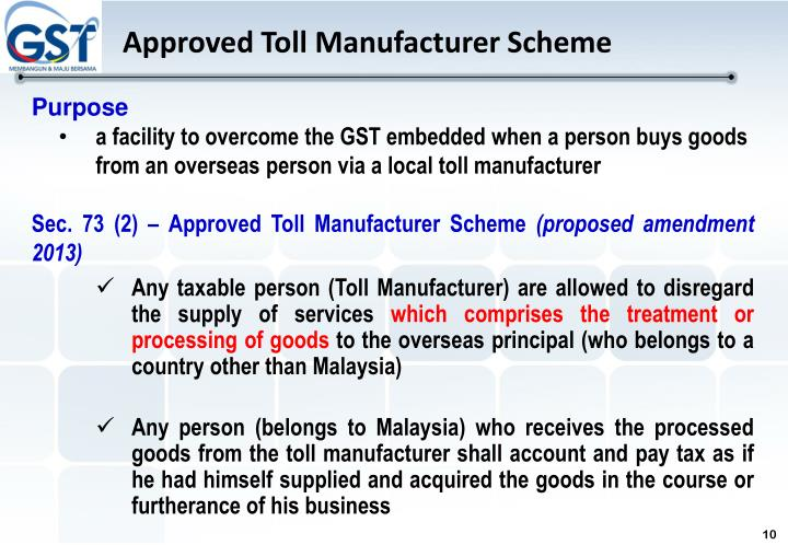 Approved Toll Manufacturer Scheme