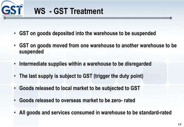 WS  - GST Treatment