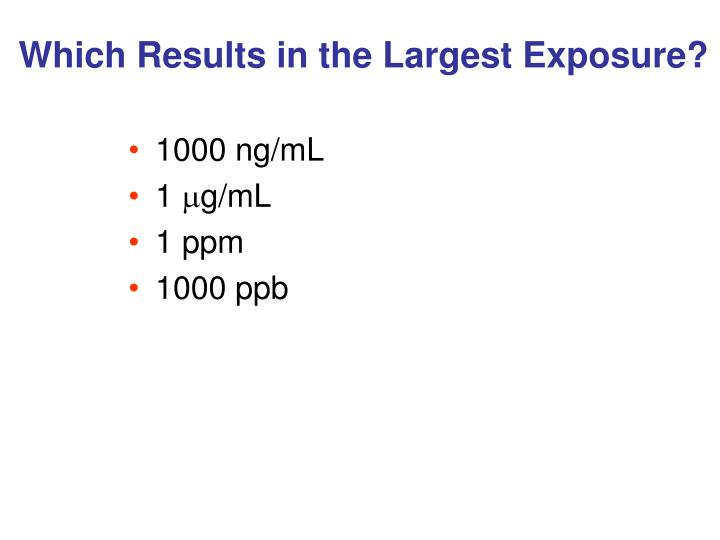Which Results in the Largest Exposure?