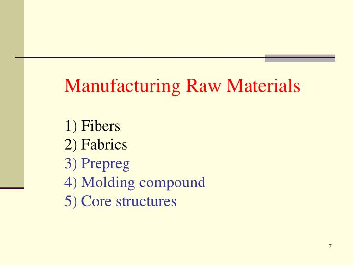 Manufacturing Raw Materials
