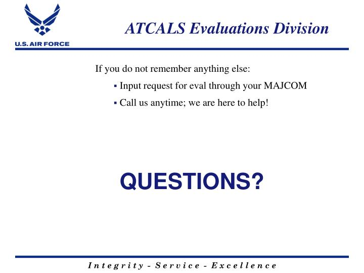 ATCALS Evaluations Division