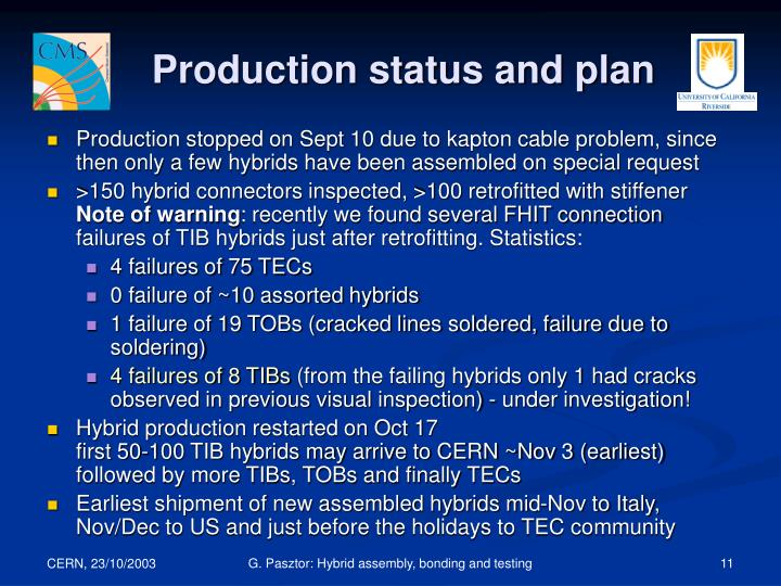 Production status and plan