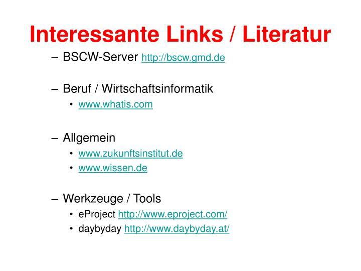 Interessante Links / Literatur