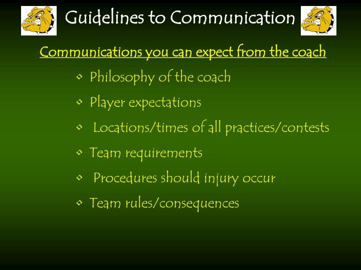 Communications you can expect from the coach