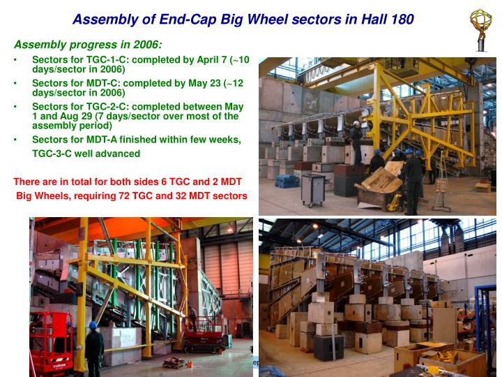 Assembly of End-Cap Big Wheel sectors in Hall 180