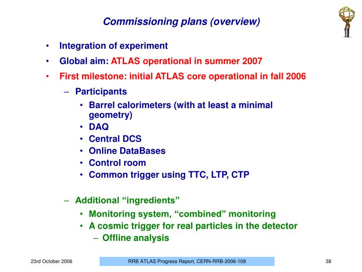 Commissioning plans (overview)