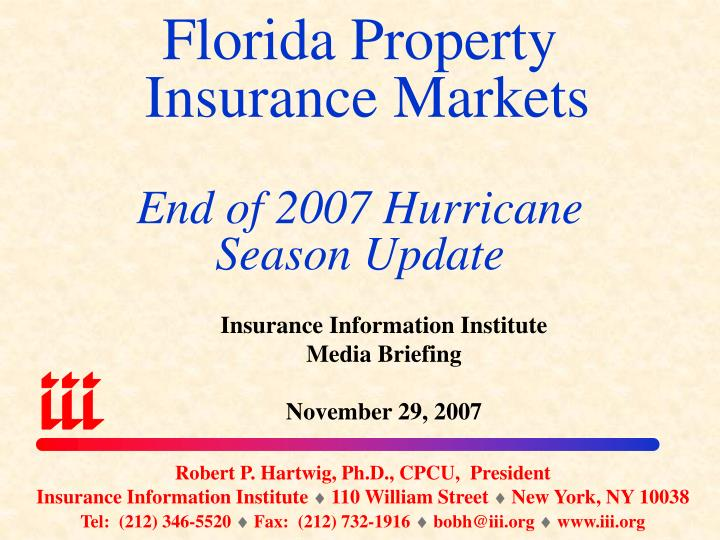 Florida property insurance markets end of 2007 hurricane season update