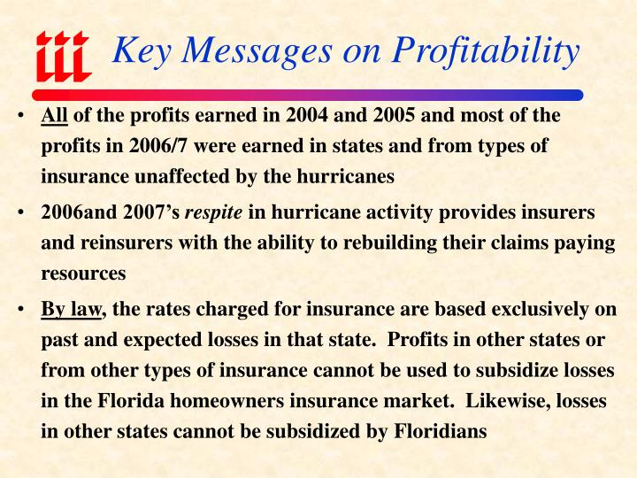 Key Messages on Profitability