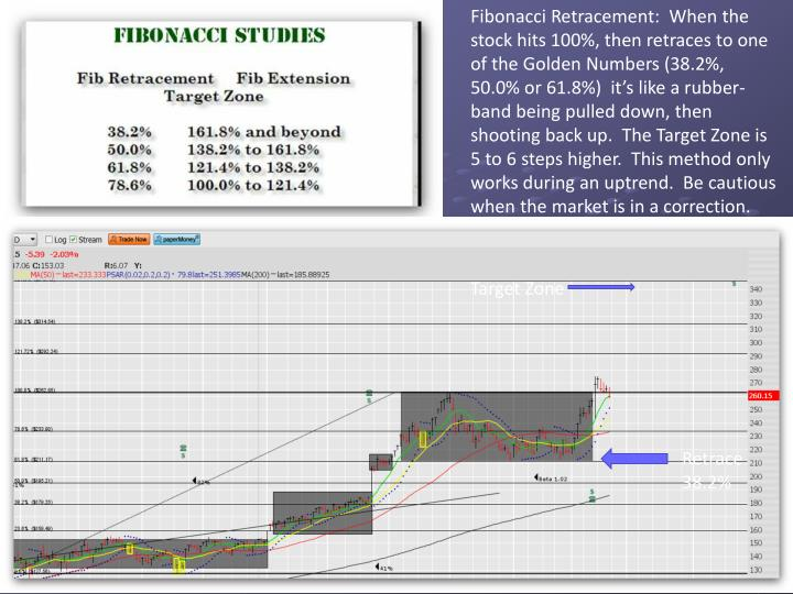 Fibonacci Retracement:  When the stock hits 100%, then retraces to one of the Golden Numbers (38.2%, 50.0% or 61.8%)  it's like a rubber-band being pulled down, then shooting back up.  The Target Zone is 5 to 6 steps higher.  This method only works during an uptrend.  Be cautious when the market is in a correction.