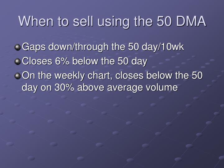 When to sell using the 50 DMA