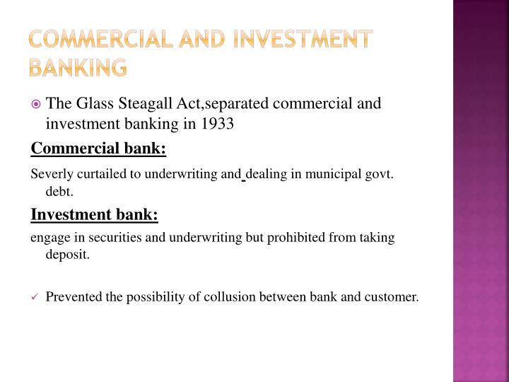 Commercial and investment banking