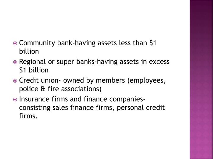 Community bank-having assets less than $1 billion