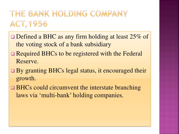 The Bank Holding Company Act,1956