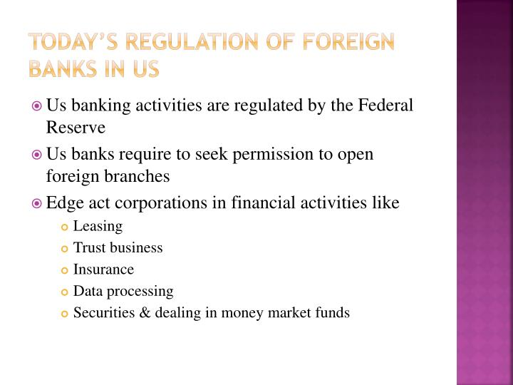 Today's Regulation of foreign banks in Us