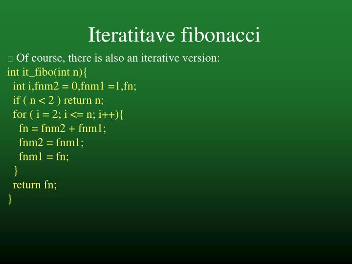 Iteratitave fibonacci
