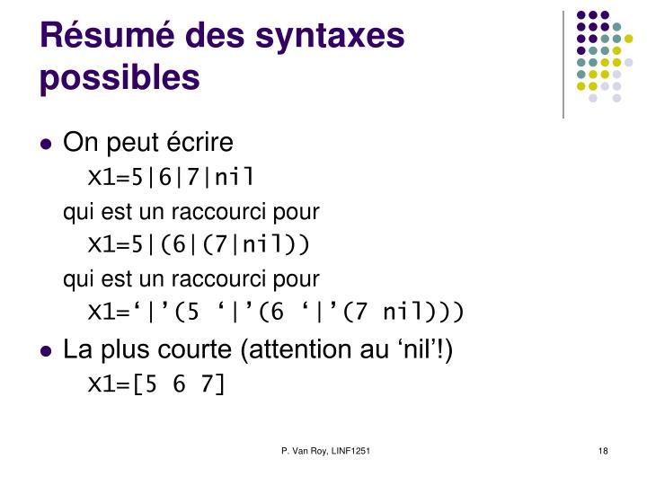 Résumé des syntaxes possibles