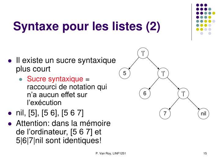 Syntaxe pour les listes (2)
