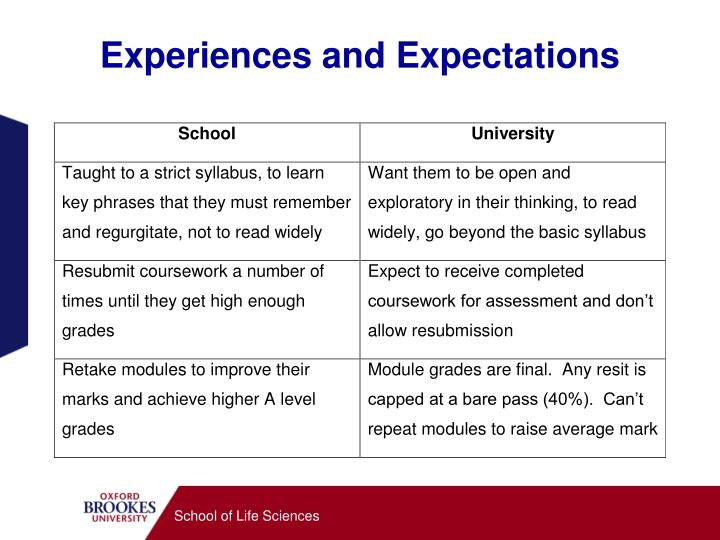 Experiences and expectations