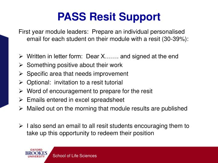 PASS Resit Support