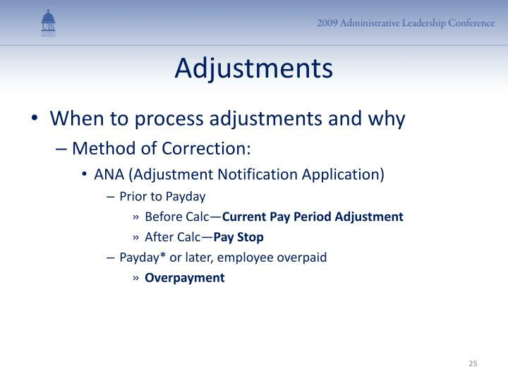 Adjustments