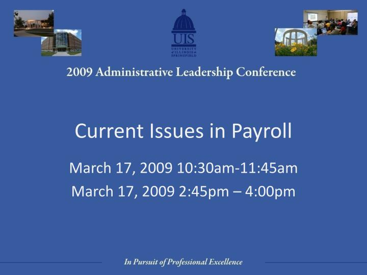 Current issues in payroll