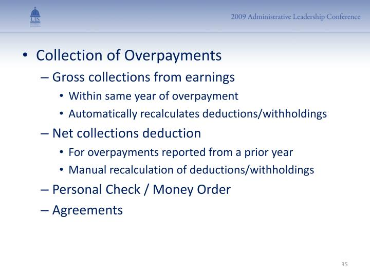 Collection of Overpayments