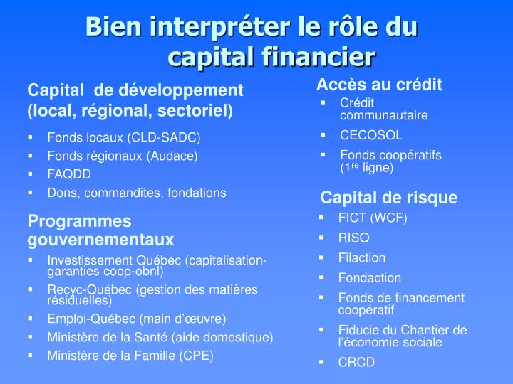 Bien interpréter le rôle du capital financier