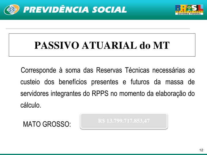 PASSIVO ATUARIAL do MT