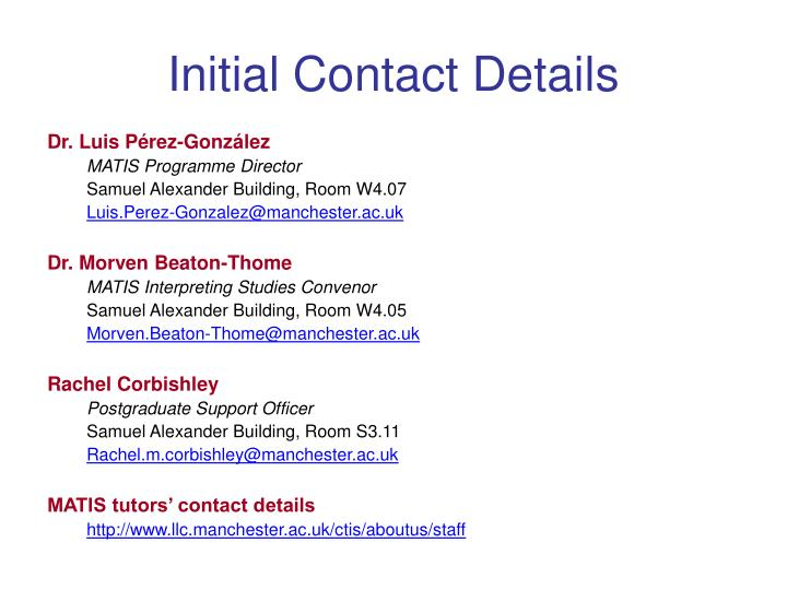 Initial contact details