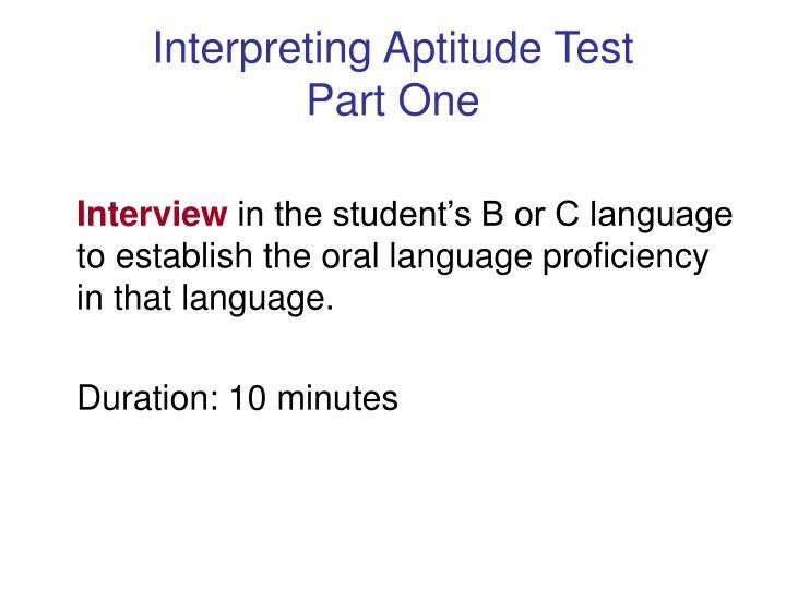 Interpreting Aptitude Test