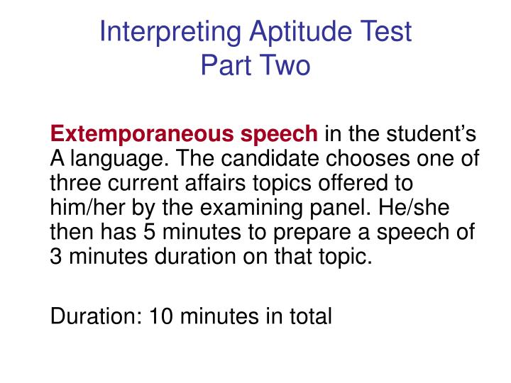 Interpreting Aptitude Test