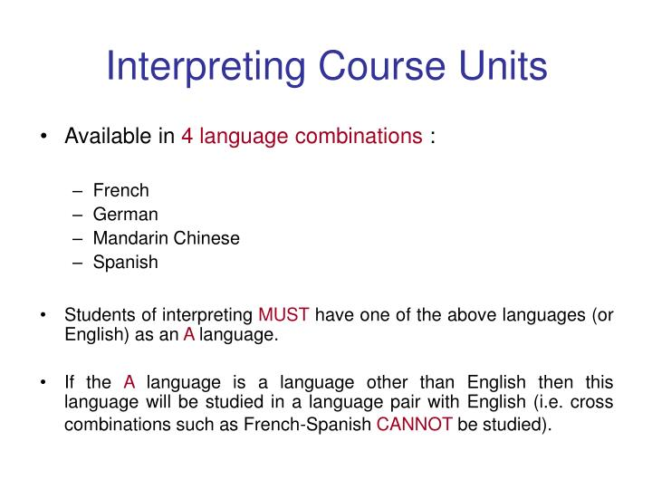 Interpreting Course Units