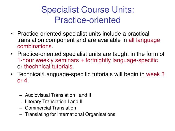 Specialist Course Units: