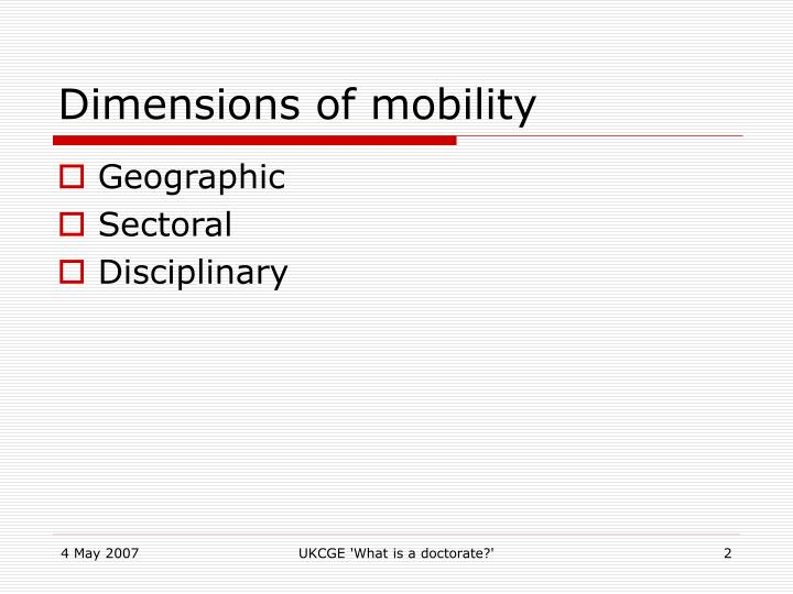 Dimensions of mobility