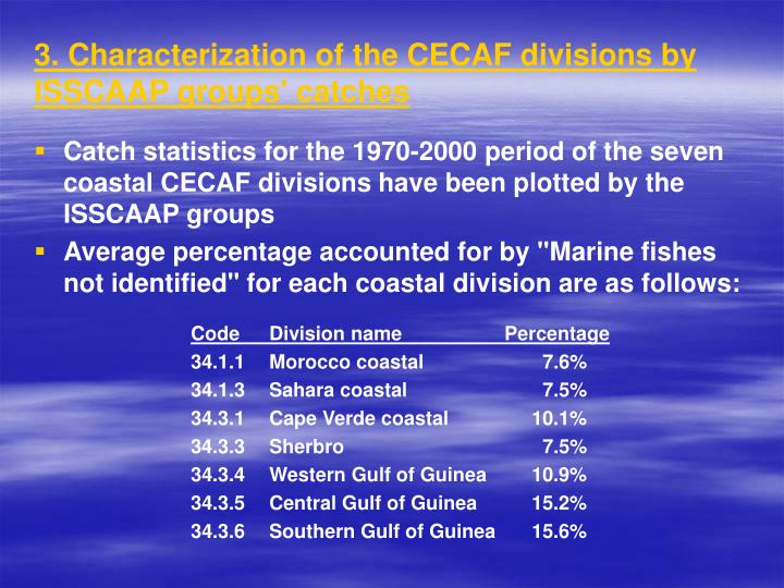 3. Characterization of the CECAF divisions by ISSCAAP groups' catches