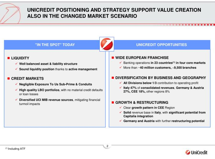 UNICREDIT POSITIONING AND STRATEGY SUPPORT VALUE CREATION ALSO IN THE CHANGED MARKET SCENARIO