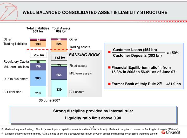 WELL BALANCED CONSOLIDATED ASSET & LIABILITY STRUCTURE
