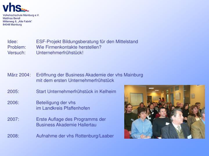Idee: ESF-Projekt Bildungsberatung für den Mittelstand