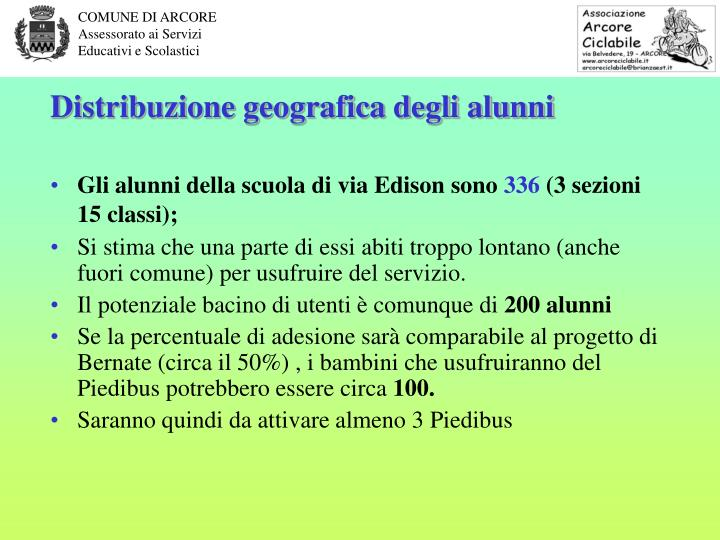 Distribuzione geografica degli alunni