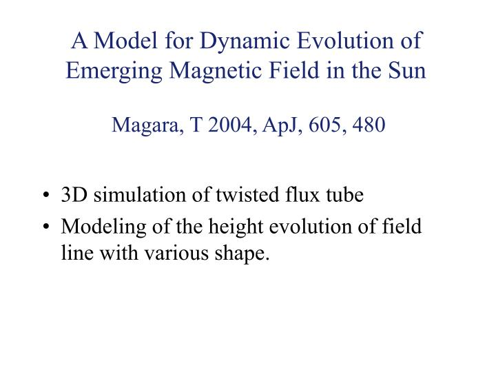 A Model for Dynamic Evolution of Emerging Magnetic Field in the Sun