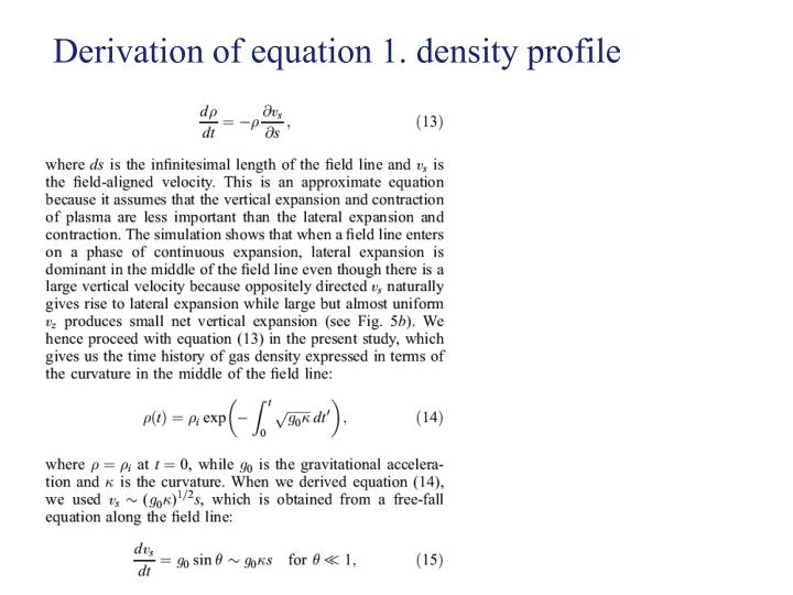 Derivation of equation 1. density profile