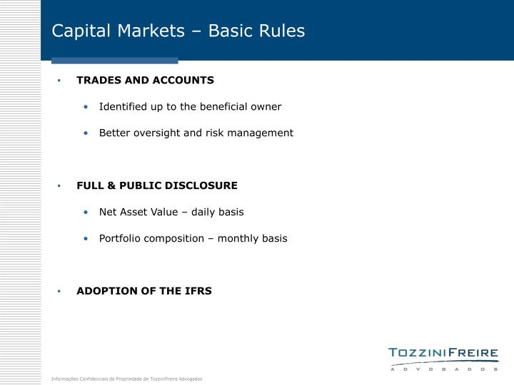 Capital Markets – Basic Rules