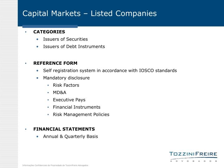 Capital Markets – Listed Companies