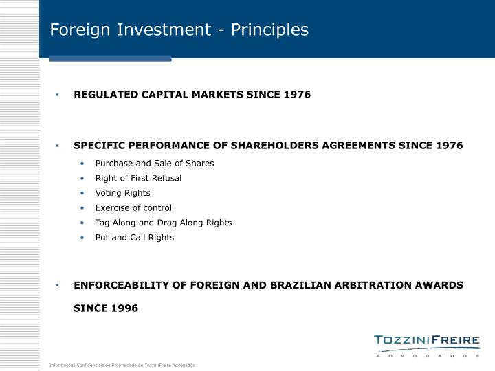 Foreign Investment - Principles
