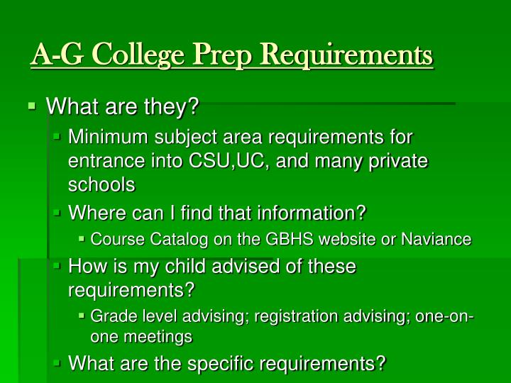 A-G College Prep Requirements